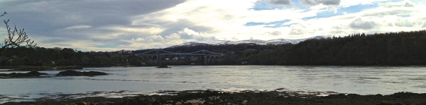 View of Menai Straits and bridge
